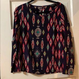 Multi design long sleeved blouse